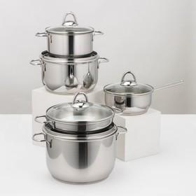 Набор посуды «Классика-прима», 5 предметов: 4 кастрюли 1/1,75/3/5 л, сковорода 1 л, капсульное дно