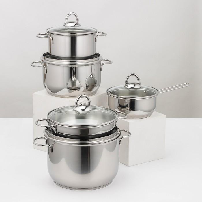 Набор посуды «Классика-прима», 5 предметов: 4 кастрюли 1/1,75/3/5 л, сковорода 1 л, капсульное дно - фото 1666274