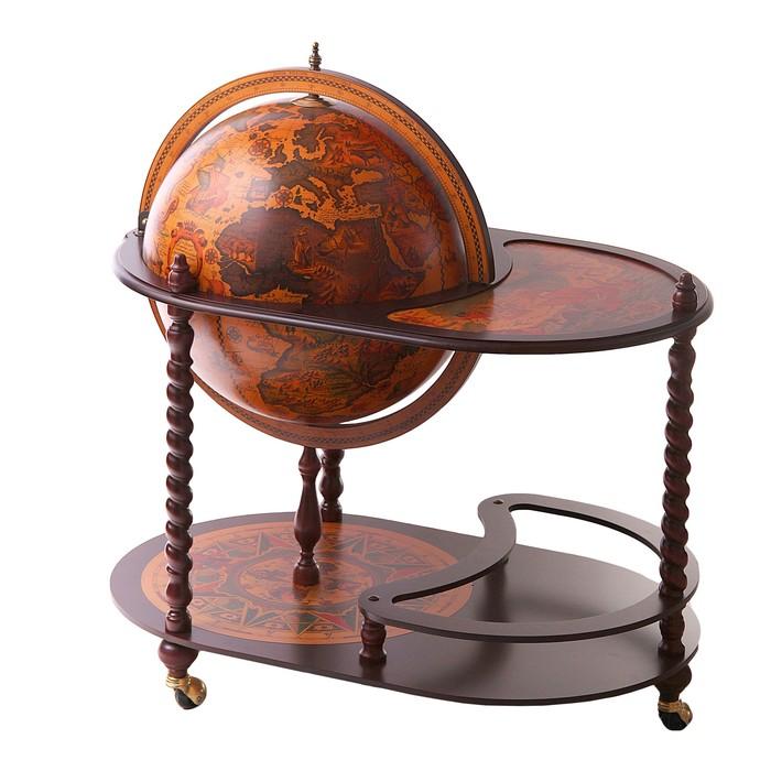 """Глобус-бар напольный со столиком """"Морские пути"""", d 50 см"""