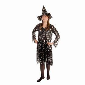 Карнавальный костюм «Чародейка», платье расклешённое, шляпа, серебро на чёрном, р-р 44-50