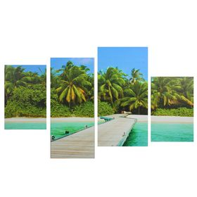 "Картина модульная на подрамнике ""Райский пляж"" 2-30х45; 1-29,5х69; 1-34х69, 80*130 см"