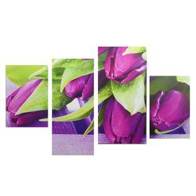 """Картина модульная на подрамнике """"Фиолетовые тюльпаны"""" 2-30х45; 1-29,5х69; 1-34х69"""