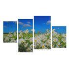 """Модульная картина на подрамнике """"Ромашковое поле"""", 2 — 30×45, 1 — 29,5×69, 1 — 34×69, 80×13 см"""