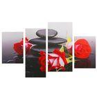 """Модульная картина на подрамнике """"Розы у камней"""", 2 — 30×45, 1 — 29,5×69, 1 — 34×69, 80×130 см"""