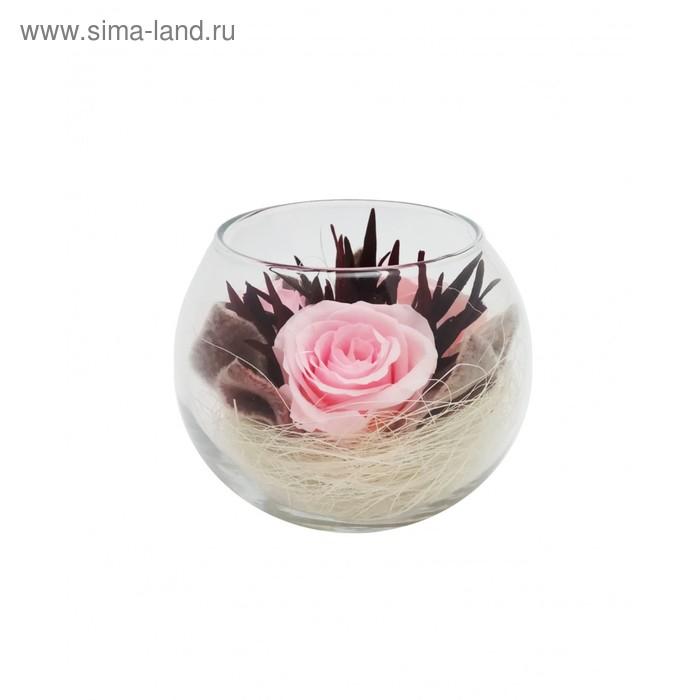 Композиция в вазе, розы розовые, 9 х 9 х 8 см