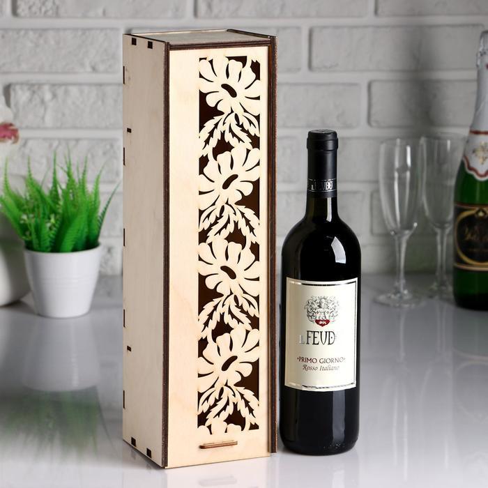 Коробка для вина с ромашками 38*11*11 см