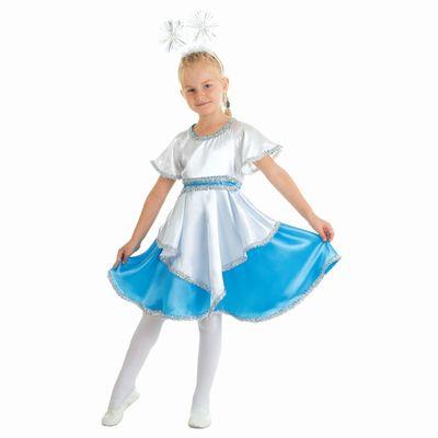 """Карнавальный костюм """"Снежинка бело-голубая"""", платье, ободок, р-р 64, рост 128 см"""