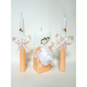 """Набор свечей """"Атласная роза"""", абрикосовый : Домашний очаг 6.8х15см, Родительские свечи 1.8х17.5см"""