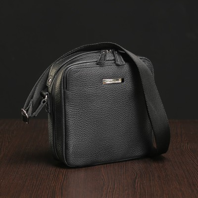 Сумка мужская на молнии, 1 отдел, наружный карман, чёрная