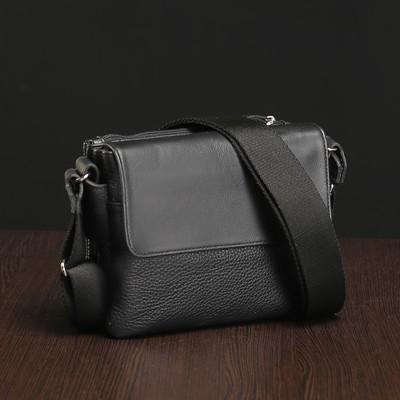 Планшет мужской на молнии, 3 отдела, 1 наружный карман, чёрный