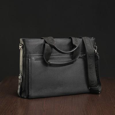 Портфель мужской на молнии, 1 отдел, 2 наружных кармана, длинный ремень, чёрный