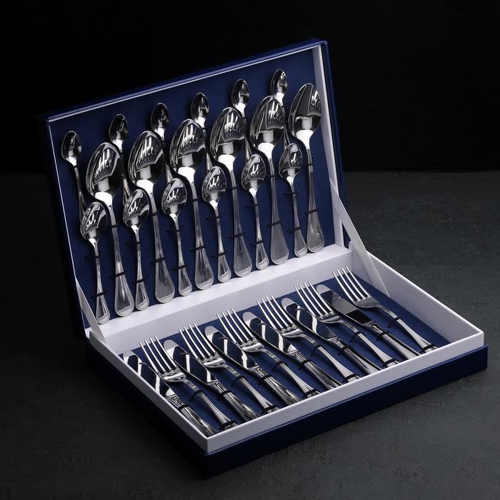 Набор столовых приборов «Империал», 30 предметов, толщина 2 мм, декоративная коробка - фото 308170692