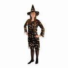 """Карнавальный костюм """"Ведьма"""", платье приталенное, шляпа, золото на чёрном, р-р 42-44"""