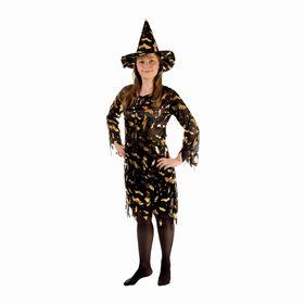 Карнавальный костюм «Ведьма», платье приталенное, шляпа, золото на чёрном, р. 42-44