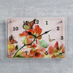 """Часы настенные, серия: Цветы, """"Орхидеи и бабочки"""", 25х35  см, микс"""