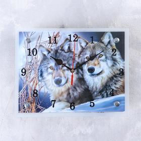 """Часы настенные, серия: Животный мир, """"Два волка"""", 20х25  см, микс"""
