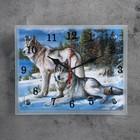 """Часы настенные, серия: Животный мир, """"Волки в Зимнем Лесу"""", 20х25  см, микс"""