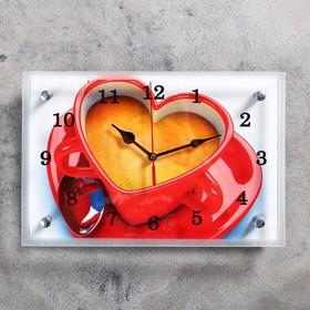 """Часы настенные, серия: Кухня, """"Чашка кофе сердце"""", 20х30  см, микс"""