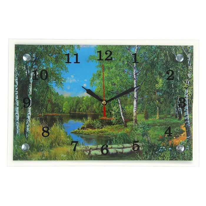 """Часы настенные, серия: Природа, """"Лес и река"""", 20х30  см, микс"""