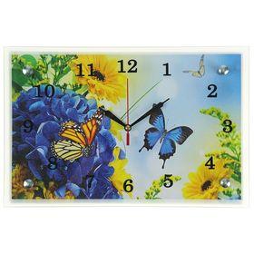 """Часы настенные, серия: Цветы, """"Бабочка в цветах"""", 20х30  см, микс"""