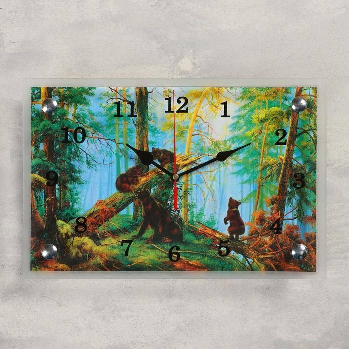 """Часы настенные, серия: Животный мир, """"Медведи в лесу"""", 20х30  см, микс"""