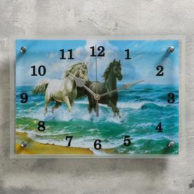 """Часы настенные, серия: Животный мир, """"Лошади в море"""", 25х35  см, микс"""