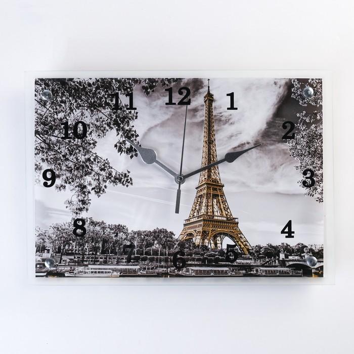"""Часы настенные, серия: Город, """"Эйфелева башня, 25х35  см, микс - фото 797740413"""