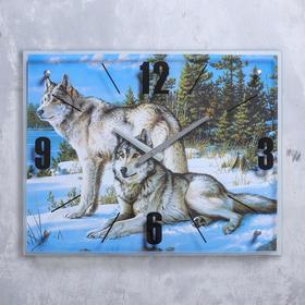 """Часы настенные, серия: Животный мир, """"Волки в Зимнем Лесу"""", 40х50  см, микс"""