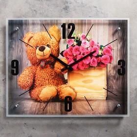 """Часы настенные, серия: Цветы, """"Плюшевый мишка"""", 40х50  см, микс"""