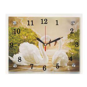 """Часы настенные, серия: Животный мир, """"Лебеди"""", 20х25  см, микс"""