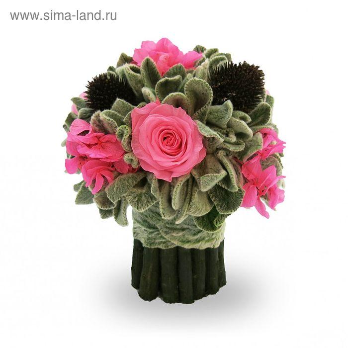 """Декоративная композиция """"Чистец"""" букет, 13 х 13 х 15 см, розовый"""