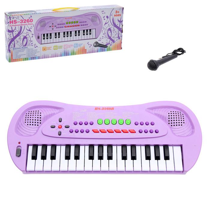 Синтезатор «Музыкант» с микрофоном, цвет фиолетовый, 32 клавиши, работает от батареек