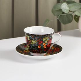 Чайная пара «Хохлома», чашка 210 мл, блюдце