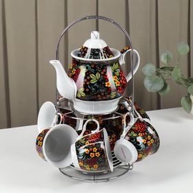 Сервиз чайный Доляна «хохлома»,13 предметов: чайник 1 л, 6 чашек 210 мл, 6 блюдец, на подставке