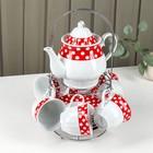 """Сервиз чайный """"Горох"""", 13 предметов на подставке: 6 чашек 210 мл, 6 блюдец, чайник, цвет красный"""