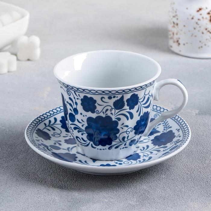 """Чайная пара """"Русский узор"""": чашка 210 мл, блюдце"""