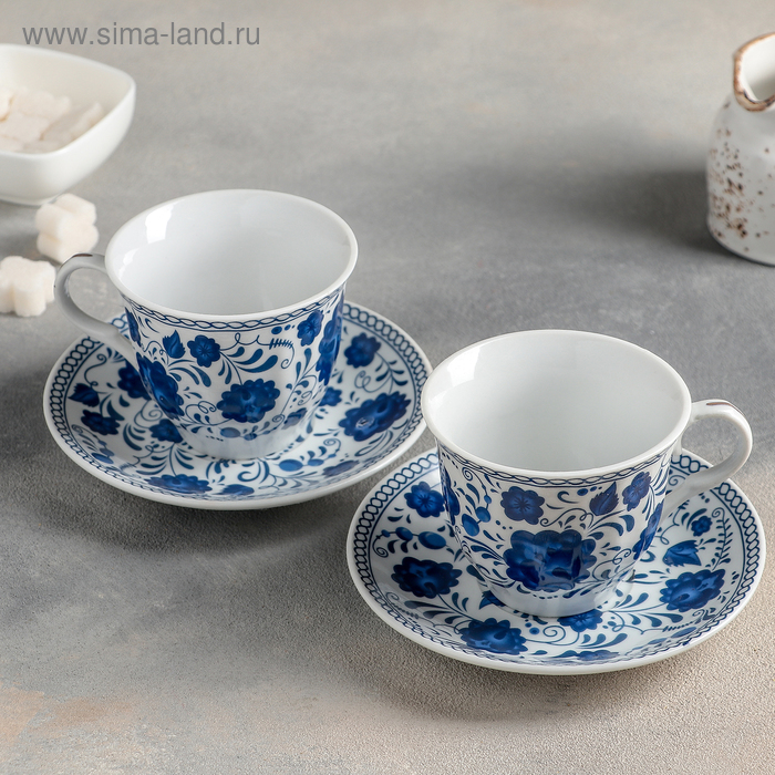 """Tea set """"Russian pattern"""" of 4 items: Cup 210 ml, saucers"""