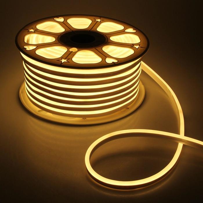 Гибкий неон 8 х 16 мм, 50 метров, LED-120-SMD2835, 220 V, ТЕПЛЫЙ БЕЛЫЙ