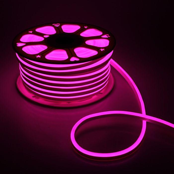 Гибкий неон 8 х 16 мм, 50 метров, LED-120-SMD2835, 220 V, розовый