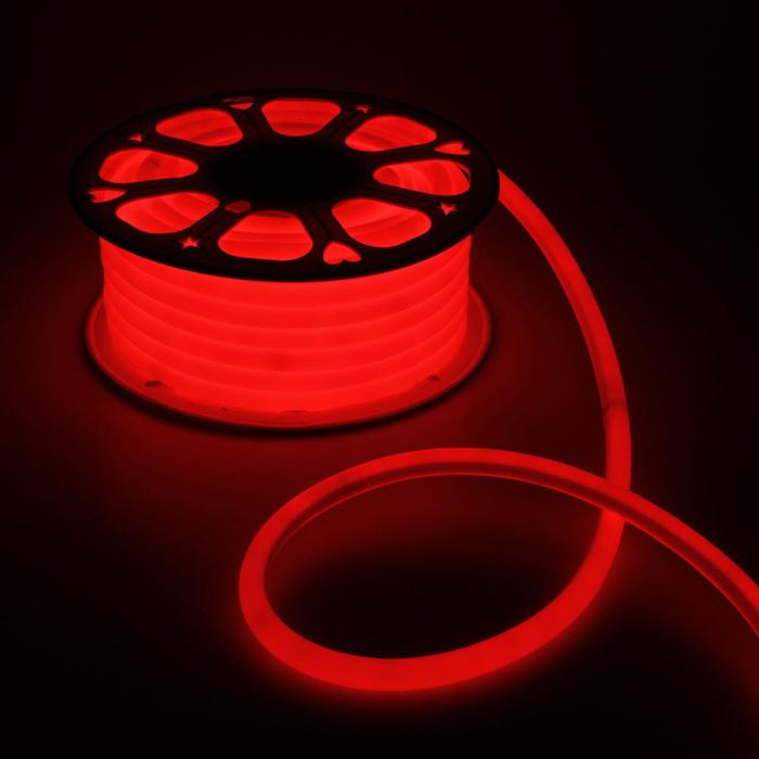 Гибкий неон круглый, D=16 мм, 25 м, LED/м-120-SMD2835-220V, КРАСНЫЙ