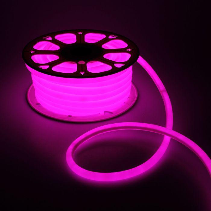 Гибкий неон круглый, D=16 мм, 25 м, LED/м-120-SMD2835-220V, РОЗОВЫЙ