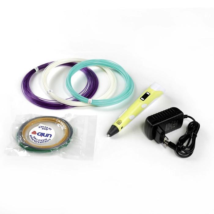 3D ручка Spider Pen PLUS, ABS, PLA и UNID Pro, желтая (трафарет + пластик)