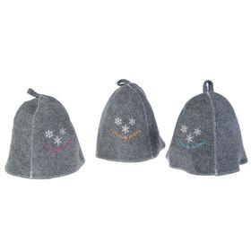Банная шапка «С Новым годом», снежинки, серая Ош