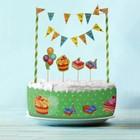 """Набор для торта """"Вкусный праздник"""" 1 гирлянда, пики 3 шт. лента для торта 1 шт.100 см (д. 30 см)"""