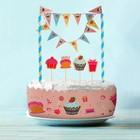 """Набор для торта """"Вкуснятина"""" 1 гирлянда, пики 4 шт. лента для торта 1 шт.100 см (д. 30 см) 149969"""