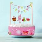 """Набор для торта """"Сластена"""" 1 гирлянда, пики 4 шт. лента для торта 1 шт.100 см (д. 30 см)"""