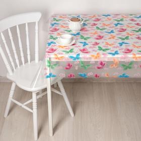 Скатерть без основы многоразовая «Бабочки», 110×120 см, цвет прозрачный