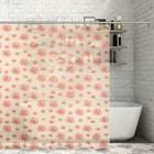 """Штора для ванной 180×180 см """"Ромашки"""", цвет бежевый"""