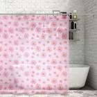 """Штора для ванной 180х180 см """"Ромашки"""", цвет розовый"""