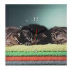 """Часы настенные, серия: Животный мир, на холсте """"Котята"""", 40х40 см"""